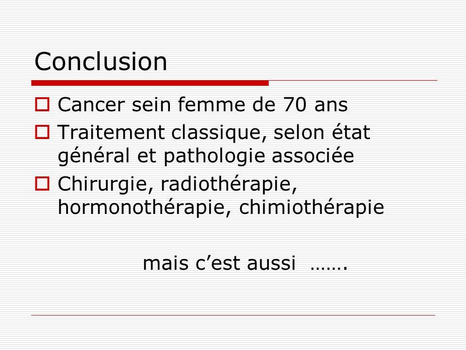 Conclusion Cancer sein femme de 70 ans Traitement classique, selon état général et pathologie associée Chirurgie, radiothérapie, hormonothérapie, chim
