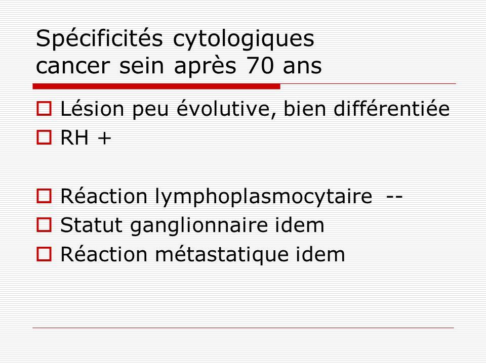 Spécificités cytologiques cancer sein après 70 ans Lésion peu évolutive, bien différentiée RH + Réaction lymphoplasmocytaire -- Statut ganglionnaire i