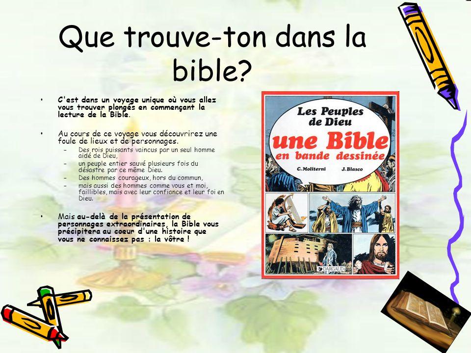 Que trouve-ton dans la bible? C'est dans un voyage unique où vous allez vous trouver plongés en commençant la lecture de la Bible. Au cours de ce voya