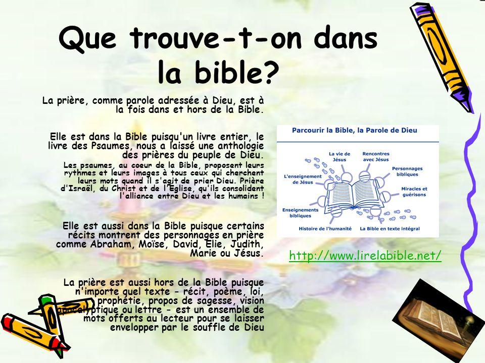 Que trouve-t-on dans la bible? La prière, comme parole adressée à Dieu, est à la fois dans et hors de la Bible. Elle est dans la Bible puisqu'un livre