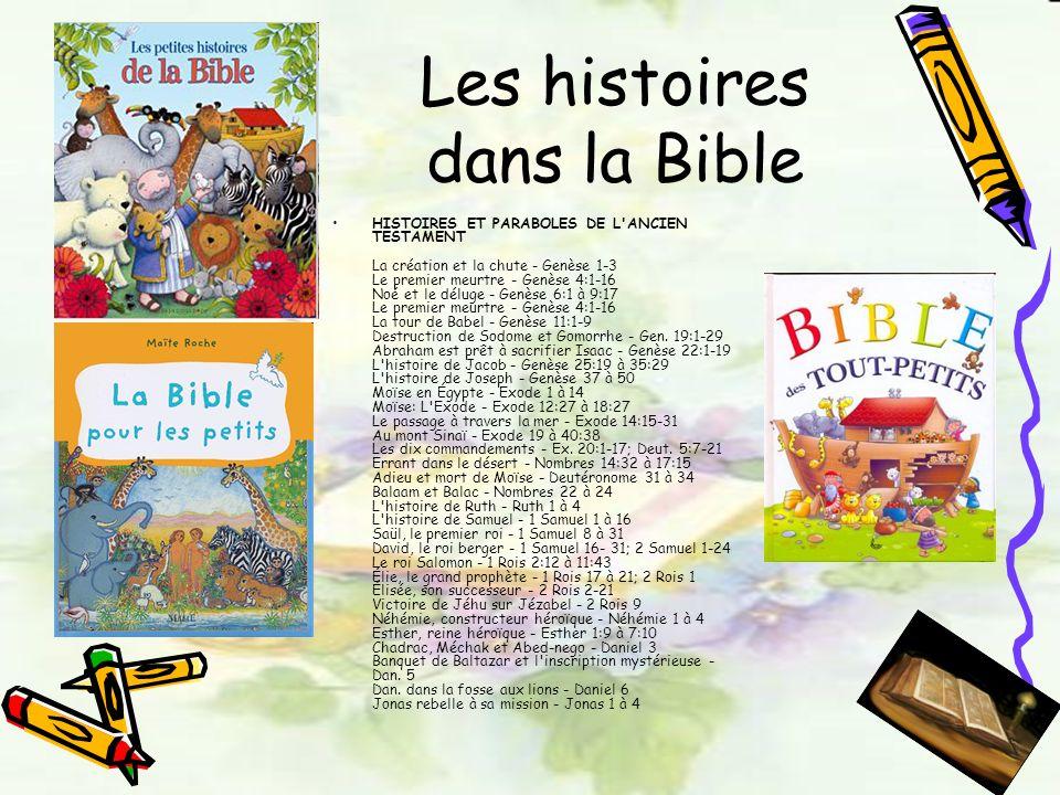 Les histoires dans la Bible HISTOIRES ET PARABOLES DE L'ANCIEN TESTAMENT La création et la chute - Genèse 1-3 Le premier meurtre - Genèse 4:1-16 Noé e