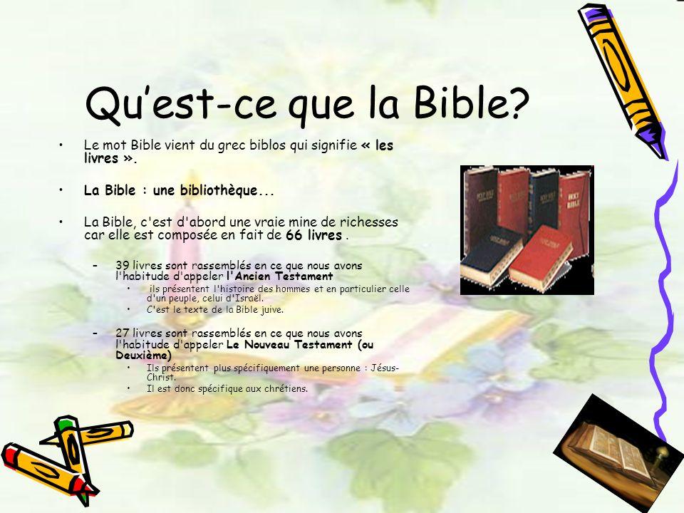 Quest-ce que la Bible? Le mot Bible vient du grec biblos qui signifie « les livres ». La Bible : une bibliothèque... La Bible, c'est d'abord une vraie