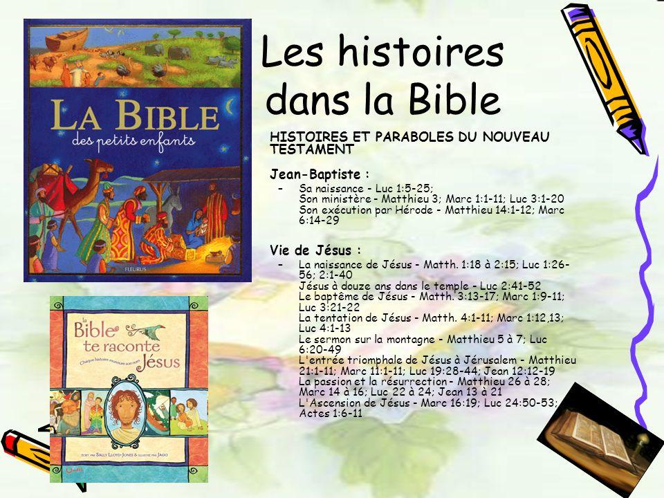 Les histoires dans la Bible HISTOIRES ET PARABOLES DU NOUVEAU TESTAMENT Jean-Baptiste : –Sa naissance - Luc 1:5-25; Son ministère - Matthieu 3; Marc 1