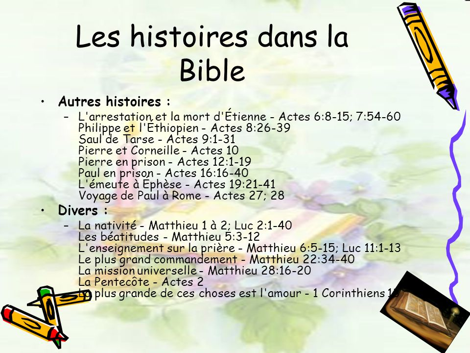 Les histoires dans la Bible Autres histoires : –L'arrestation et la mort d'Étienne - Actes 6:8-15; 7:54-60 Philippe et l'Éthiopien - Actes 8:26-39 Sau