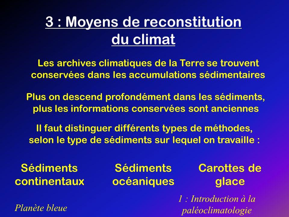 Planète bleue 1 : Introduction à la paléoclimatologie 3 : Moyens de reconstitution du climat Il faut distinguer différents types de méthodes, selon le