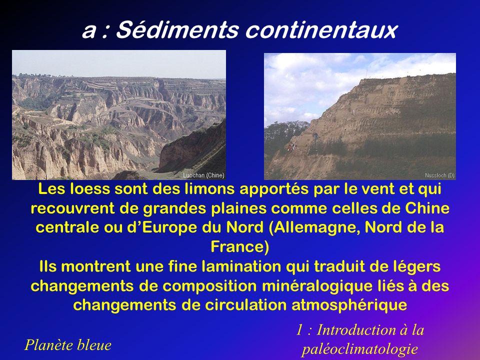 Planète bleue 1 : Introduction à la paléoclimatologie a : Sédiments continentaux Les loess sont des limons apportés par le vent et qui recouvrent de g