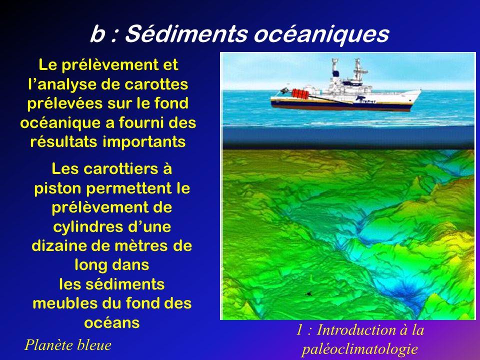 Planète bleue 1 : Introduction à la paléoclimatologie b : Sédiments océaniques Le prélèvement et lanalyse de carottes prélevées sur le fond océanique