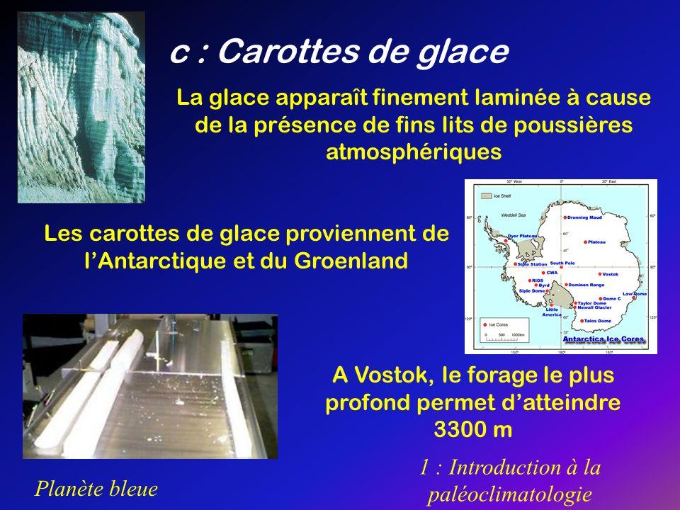 Planète bleue 1 : Introduction à la paléoclimatologie c : Carottes de glace La glace apparaît finement laminée à cause de la présence de fins lits de