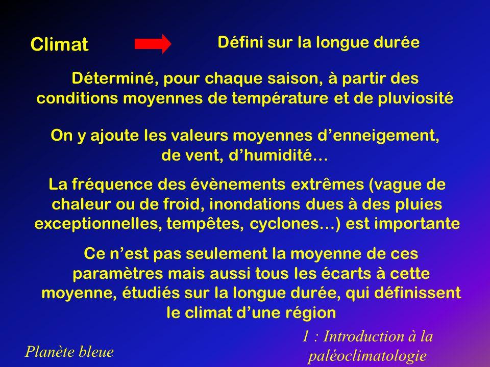 Planète bleue 1 : Introduction à la paléoclimatologie Climat Défini sur la longue durée Déterminé, pour chaque saison, à partir des conditions moyenne