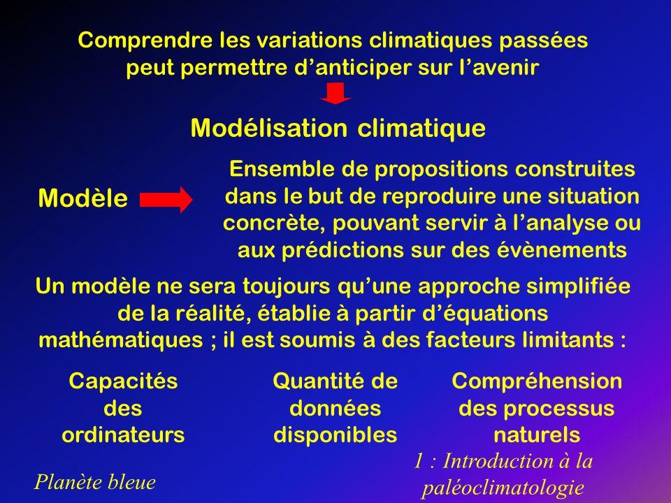Planète bleue 1 : Introduction à la paléoclimatologie 2 : Complexité des processus naturels A lheure actuelle, les modèles climatiques les plus complets relient les processus terrestres, océaniques et atmosphériques En modélisation climatique, lun des principaux facteurs limitants est la complexité des processus naturels