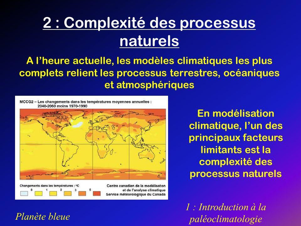 Planète bleue 1 : Introduction à la paléoclimatologie 2 : Complexité des processus naturels A lheure actuelle, les modèles climatiques les plus comple