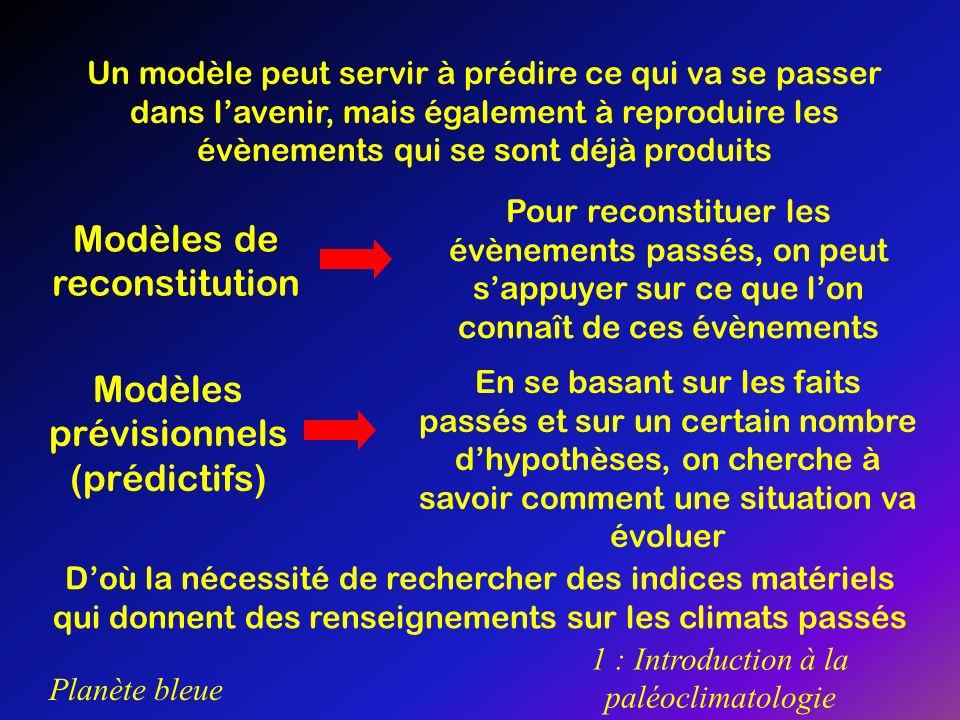 Planète bleue 1 : Introduction à la paléoclimatologie Un modèle peut servir à prédire ce qui va se passer dans lavenir, mais également à reproduire le