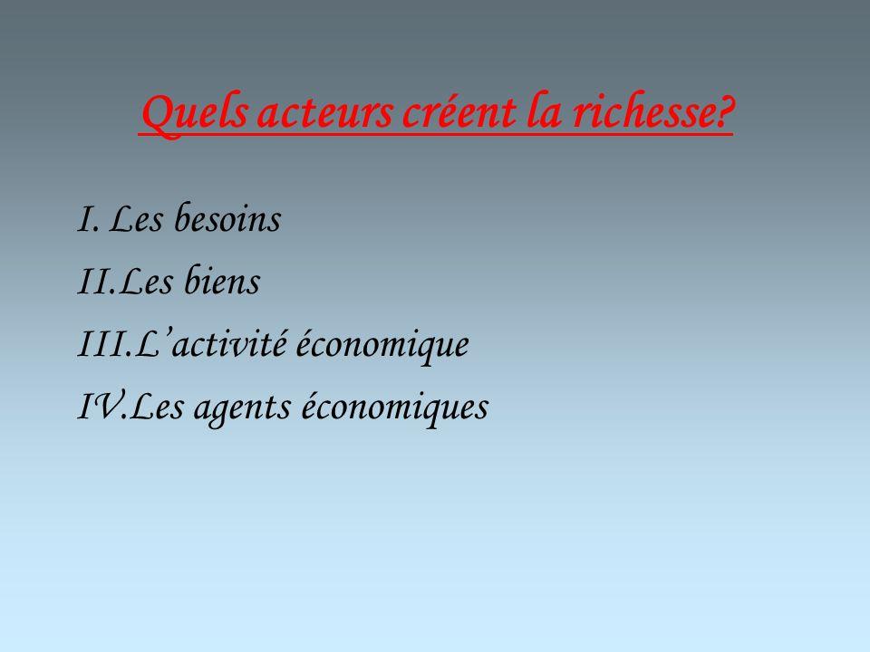 Quels acteurs créent la richesse? I.Les besoins II.Les biens III.Lactivité économique IV.Les agents économiques