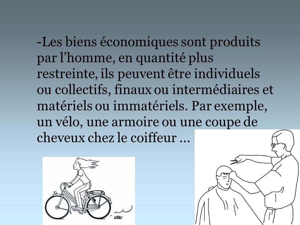 -Les biens économiques sont produits par lhomme, en quantité plus restreinte, ils peuvent être individuels ou collectifs, finaux ou intermédiaires et