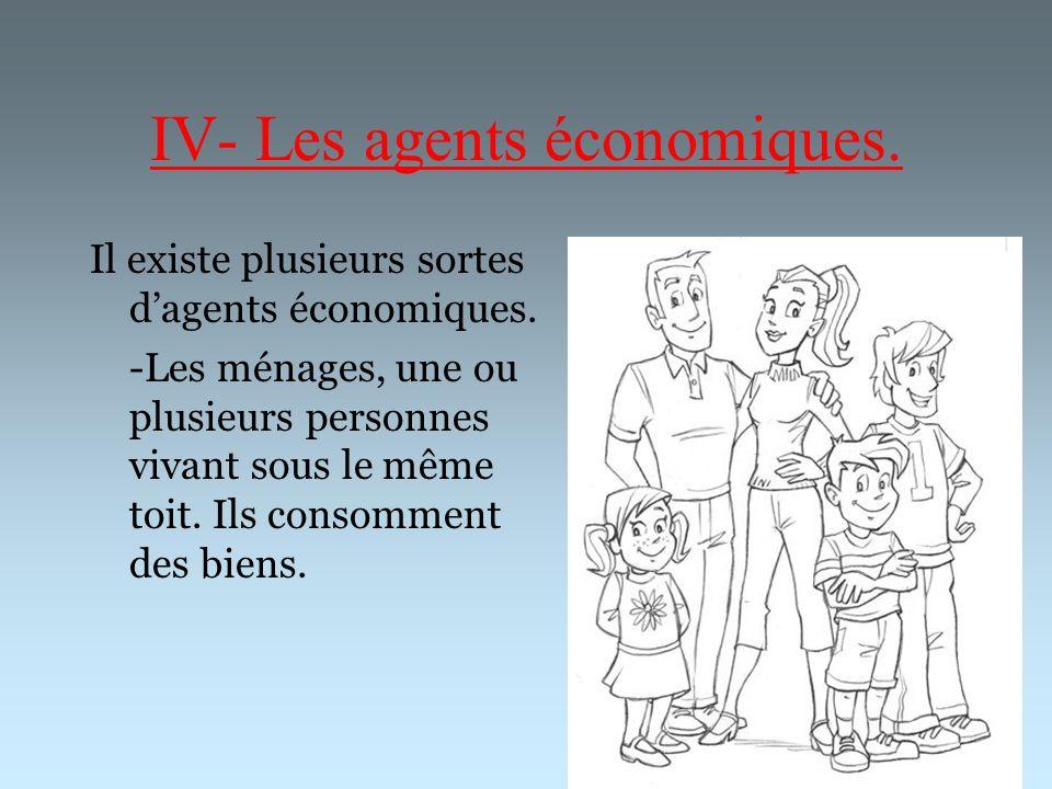 IV- Les agents économiques. Il existe plusieurs sortes dagents économiques. -Les ménages, une ou plusieurs personnes vivant sous le même toit. Ils con
