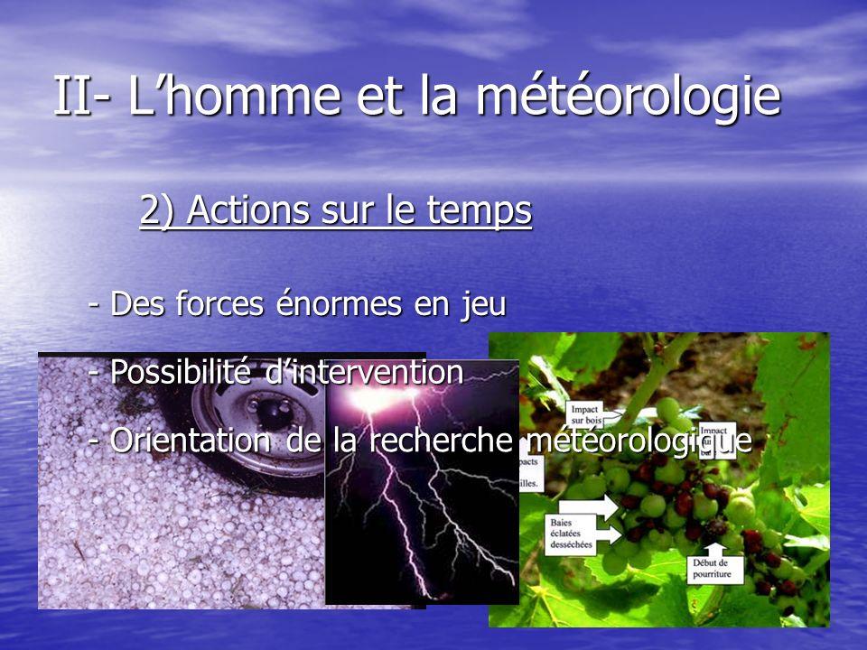 II- Lhomme et la météorologie 2) Actions sur le temps - Des forces énormes en jeu - Possibilité dintervention - Orientation de la recherche météorolog