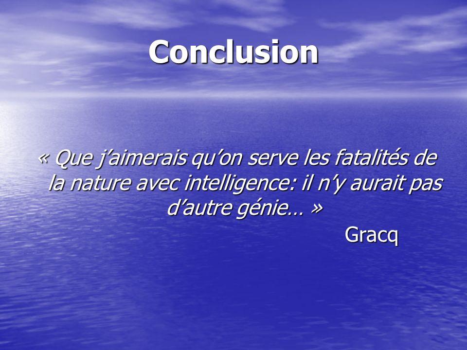 Conclusion « Que jaimerais quon serve les fatalités de la nature avec intelligence: il ny aurait pas dautre génie… » Gracq