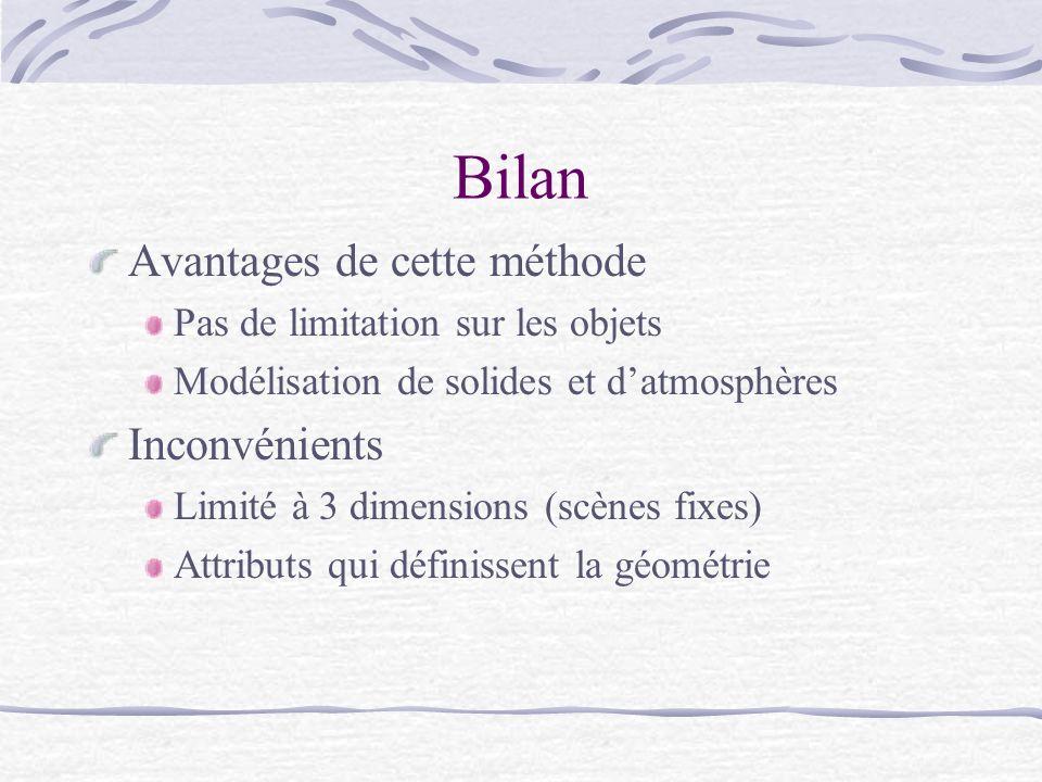 Bilan Avantages de cette méthode Pas de limitation sur les objets Modélisation de solides et datmosphères Inconvénients Limité à 3 dimensions (scènes fixes) Attributs qui définissent la géométrie