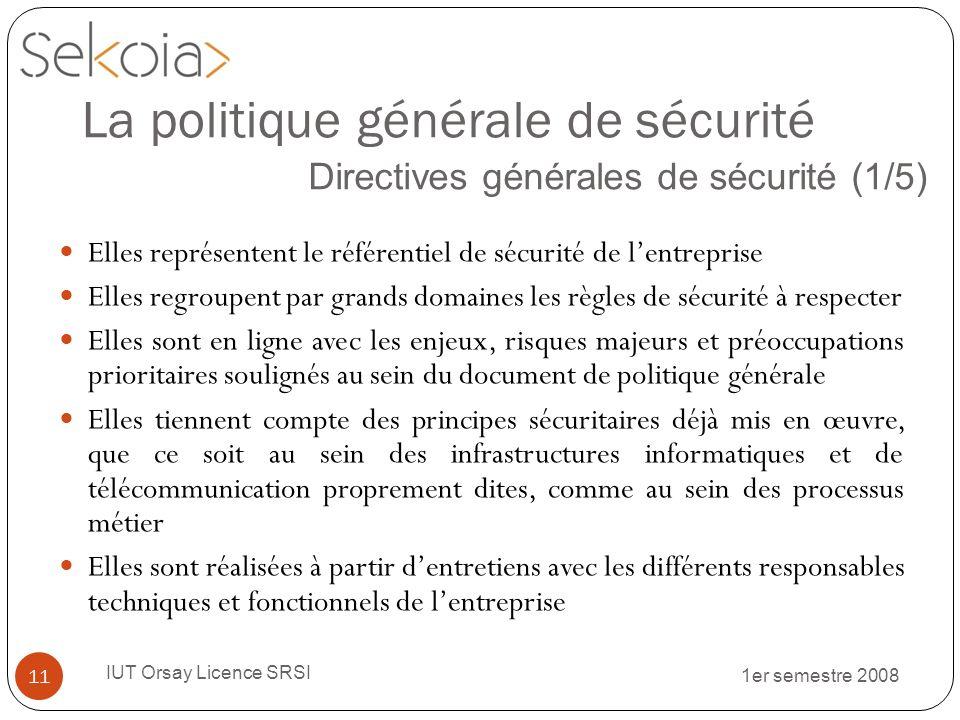 1er semestre 2008 IUT Orsay Licence SRSI 11 La politique générale de sécurité Directives générales de sécurité (1/5) Elles représentent le référentiel