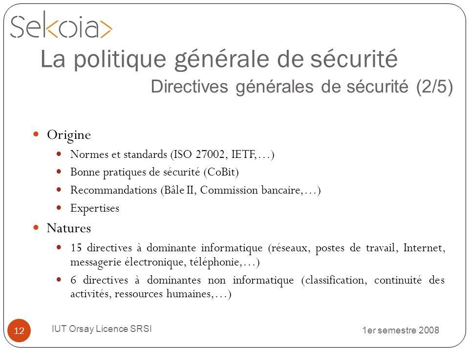 1er semestre 2008 IUT Orsay Licence SRSI 12 La politique générale de sécurité Directives générales de sécurité (2/5) Origine Normes et standards (ISO