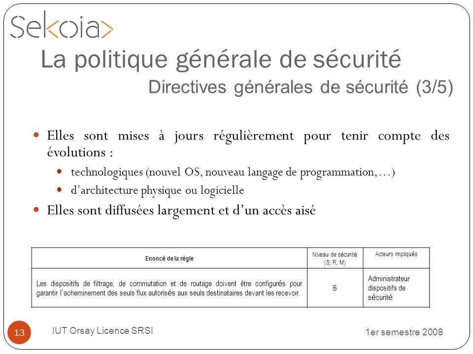 1er semestre 2008 IUT Orsay Licence SRSI 13 La politique générale de sécurité Directives générales de sécurité (3/5) Elles sont mises à jours régulièr