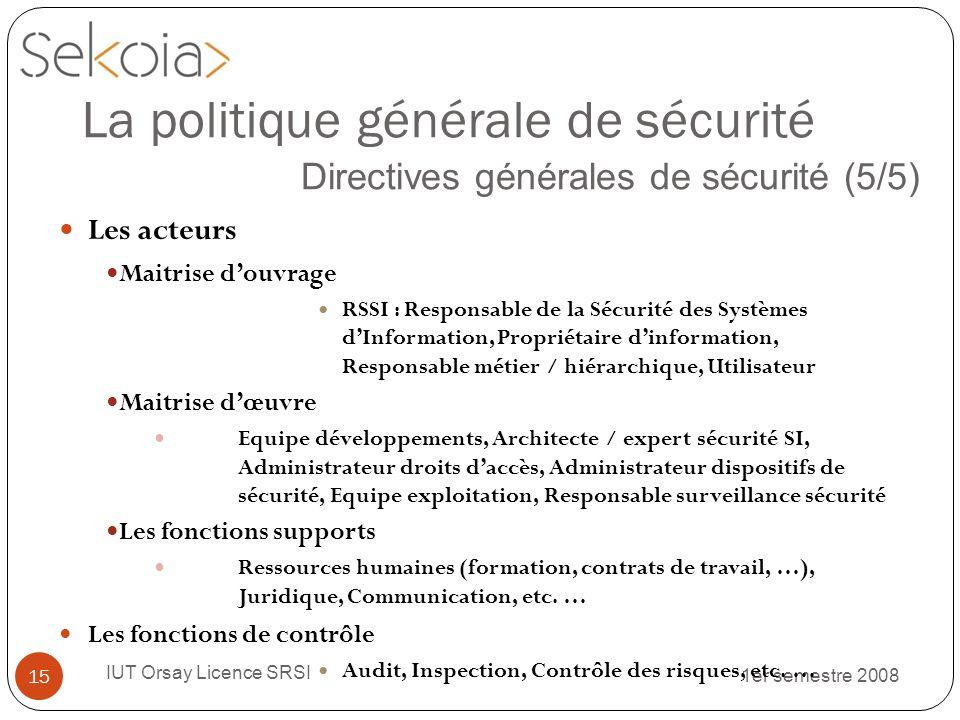 1er semestre 2008 IUT Orsay Licence SRSI 15 La politique générale de sécurité Directives générales de sécurité (5/5) Les acteurs Maitrise douvrage RSS