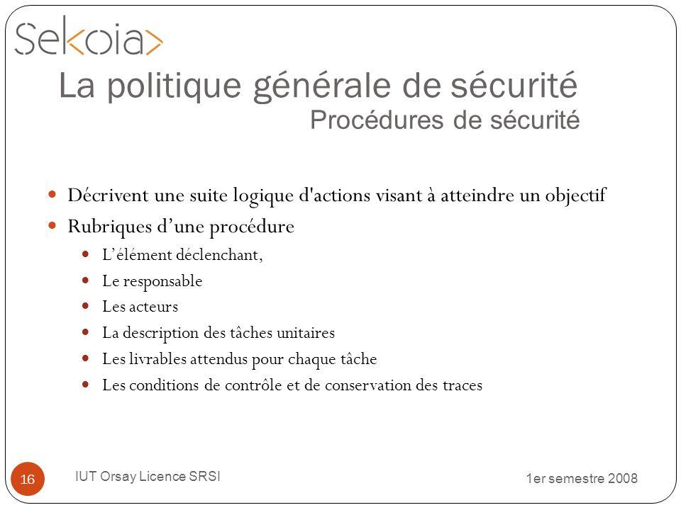 1er semestre 2008 IUT Orsay Licence SRSI 16 La politique générale de sécurité Procédures de sécurité Décrivent une suite logique d'actions visant à at