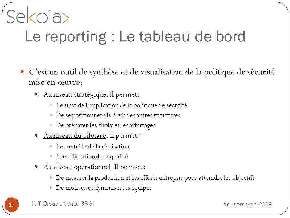1er semestre 2008 IUT Orsay Licence SRSI 17 Le reporting : Le tableau de bord Cest un outil de synthèse et de visualisation de la politique de sécurit