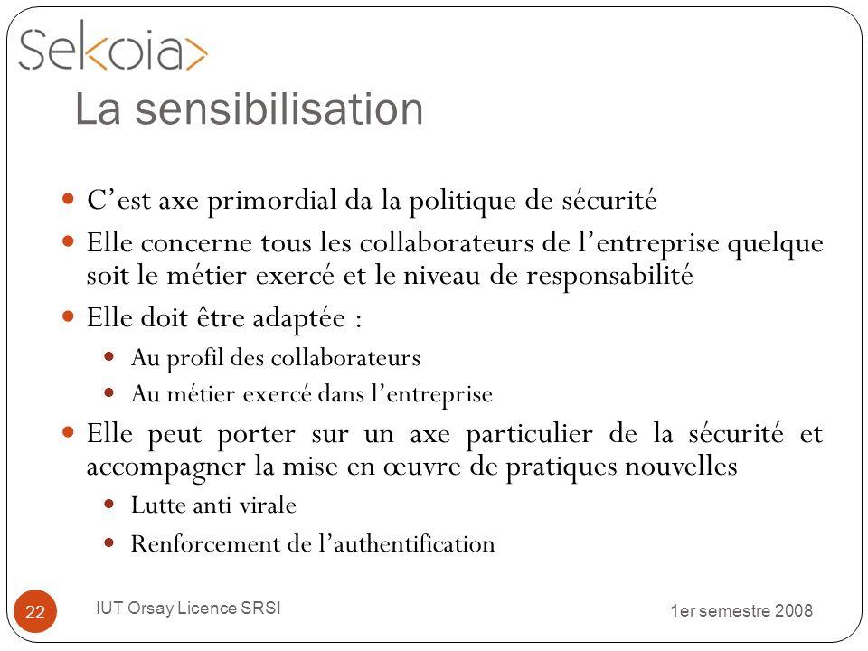 1er semestre 2008 IUT Orsay Licence SRSI 22 La sensibilisation Cest axe primordial da la politique de sécurité Elle concerne tous les collaborateurs d