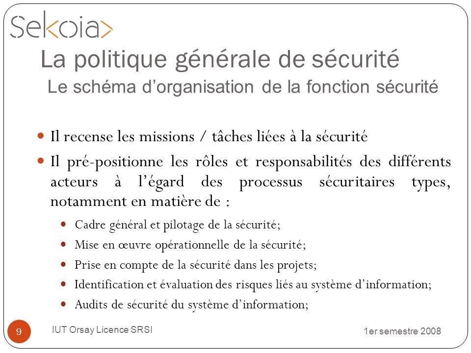 1er semestre 2008 IUT Orsay Licence SRSI 9 Il recense les missions / tâches liées à la sécurité Il pré-positionne les rôles et responsabilités des dif