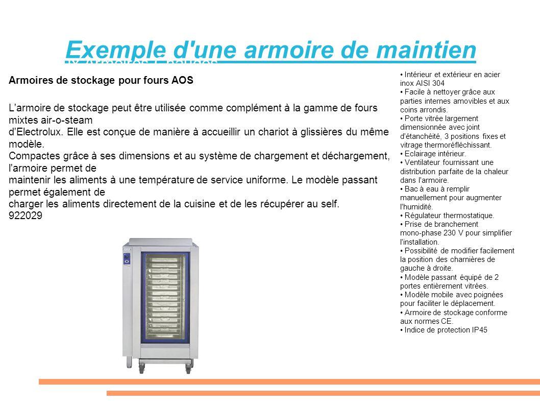 Exemple d'une armoire de maintien Electrolux Armoires Chaudes Armoires de stockage pour fours AOS L'armoire de stockage peut être utilisée comme compl