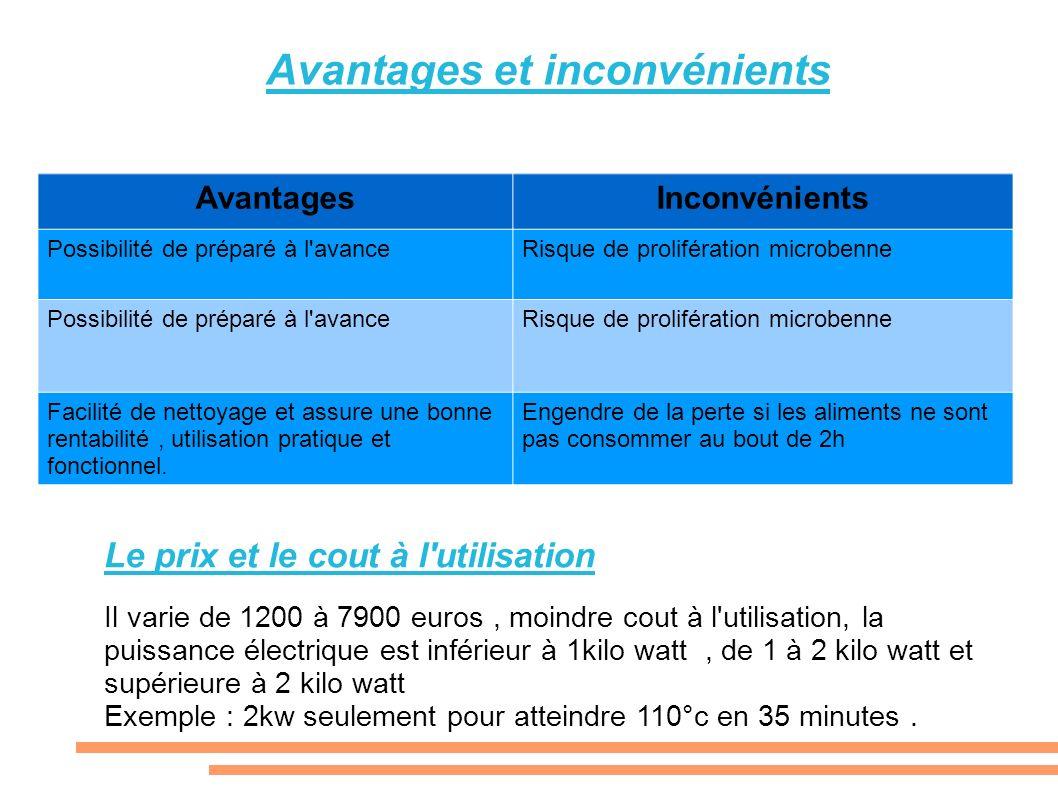 Le prix et le cout à l'utilisation Il varie de 1200 à 7900 euros, moindre cout à l'utilisation, la puissance électrique est inférieur à 1kilo watt, de