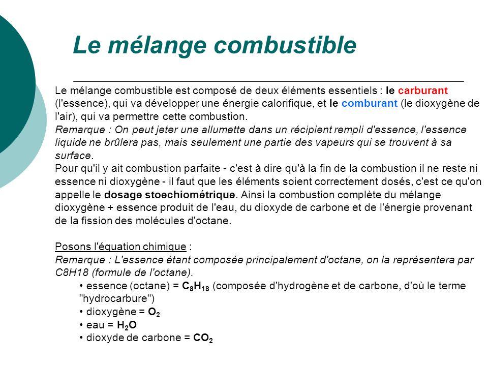 Equation (non équilibrée) de la combustion C 8 H 18 + O 2 => CO 2 + H 2 O Il faut maintenant équilibrer l équation, afin qu il y ait le même nombre d atomes de chaque côté de la flèche (en chimie rien ne se perd, tout se transforme).