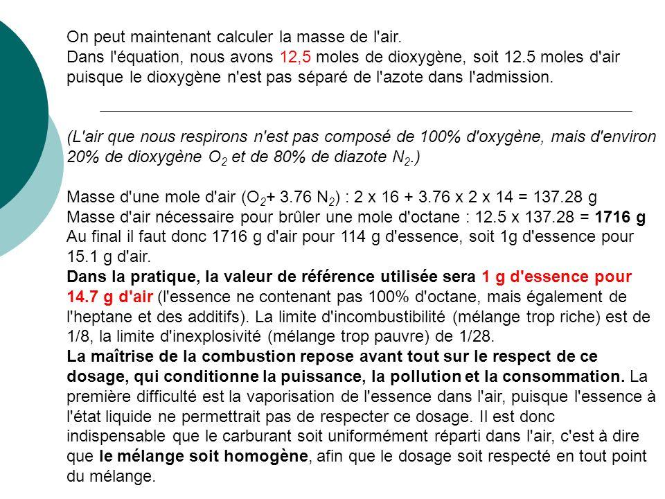 On peut maintenant calculer la masse de l'air. Dans l'équation, nous avons 12,5 moles de dioxygène, soit 12.5 moles d'air puisque le dioxygène n'est p