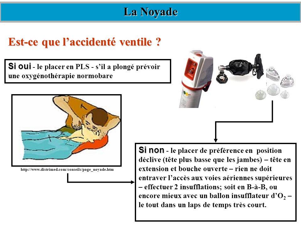 Est-ce que laccidenté ventile ? Si oui Si oui - le placer en PLS - sil a plongé prévoir une oxygénothérapie normobare Si non Si non - le placer de pré