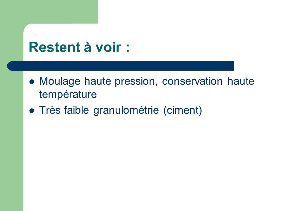 Restent à voir : Moulage haute pression, conservation haute température Très faible granulométrie (ciment)