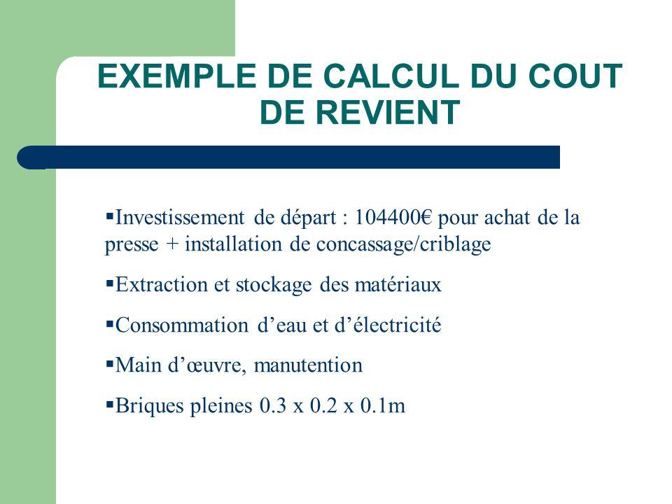 EXEMPLE DE CALCUL DU COUT DE REVIENT Investissement de départ : 104400 pour achat de la presse + installation de concassage/criblage Extraction et sto