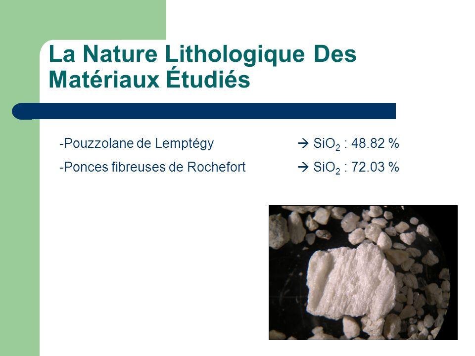 La Nature Lithologique Des Matériaux Étudiés -Pouzzolane de Lemptégy SiO 2 : 48.82 % -Ponces fibreuses de Rochefort SiO 2 : 72.03 %