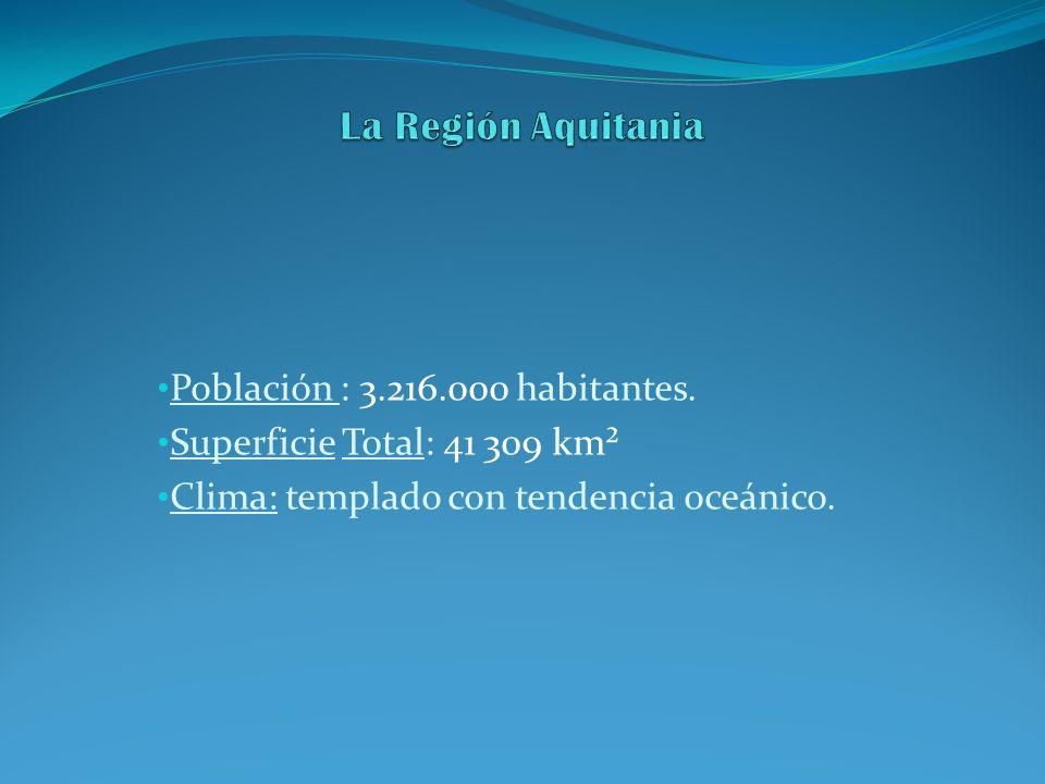 Población : 3.216.000 habitantes. Superficie Total: 41 309 km² Clima: templado con tendencia oceánico.