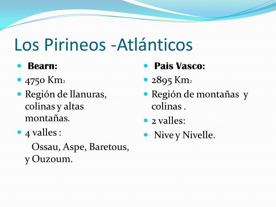 Los Pirineos -Atlánticos Bearn: 4750 Km 2 Región de llanuras, colinas y altas montañas. 4 valles : Ossau, Aspe, Baretous, y Ouzoum. Pais Vasco: 2895 K