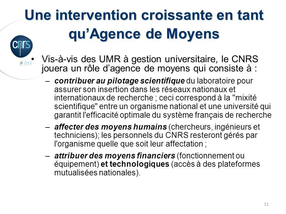 P. 011 11 Une intervention croissante en tant quAgence de Moyens Vis-à-vis des UMR à gestion universitaire, le CNRS jouera un rôle dagence de moyens q