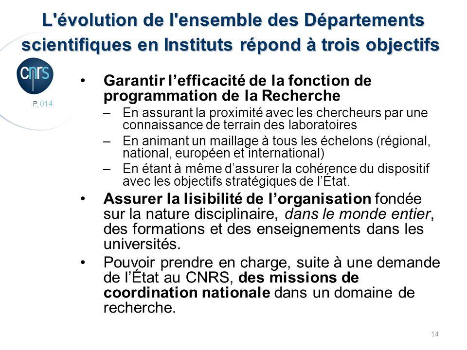P. 014 14 L'évolution de l'ensemble des Départements scientifiques en Instituts répond à trois objectifs L'évolution de l'ensemble des Départements sc