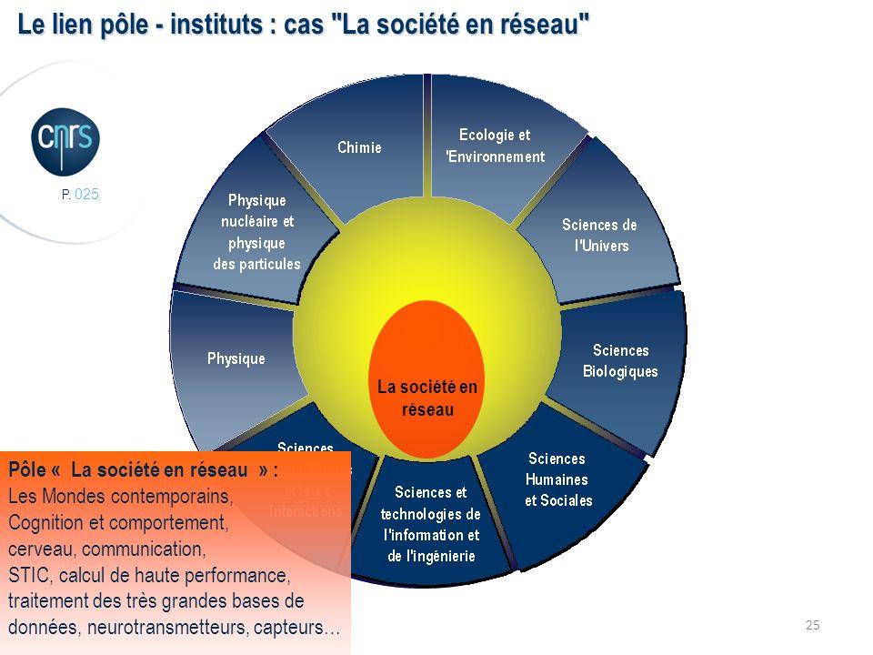 P. 025 25 La société en réseau Le lien pôle - instituts : cas
