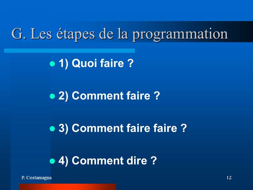P. Costamagna12 G. Les étapes de la programmation 1) Quoi faire ? 2) Comment faire ? 3) Comment faire faire ? 4) Comment dire ?