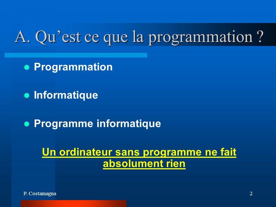 P. Costamagna2 A. Quest ce que la programmation ? Programmation Informatique Programme informatique Un ordinateur sans programme ne fait absolument ri