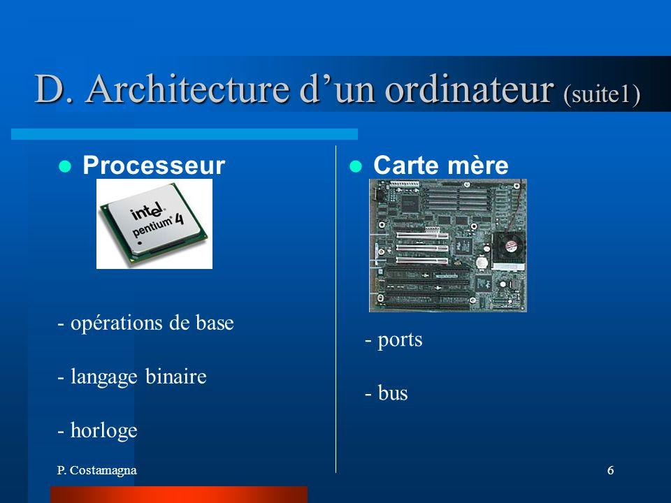 P. Costamagna6 D. Architecture dun ordinateur (suite1) Processeur Carte mère - opérations de base - langage binaire - horloge - ports - bus
