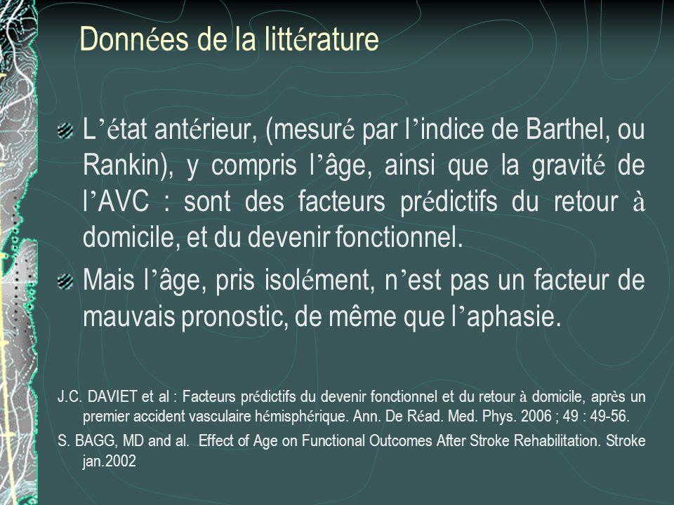 Donn é es de la litt é rature L é tat ant é rieur, (mesur é par l indice de Barthel, ou Rankin), y compris l âge, ainsi que la gravit é de l AVC : son