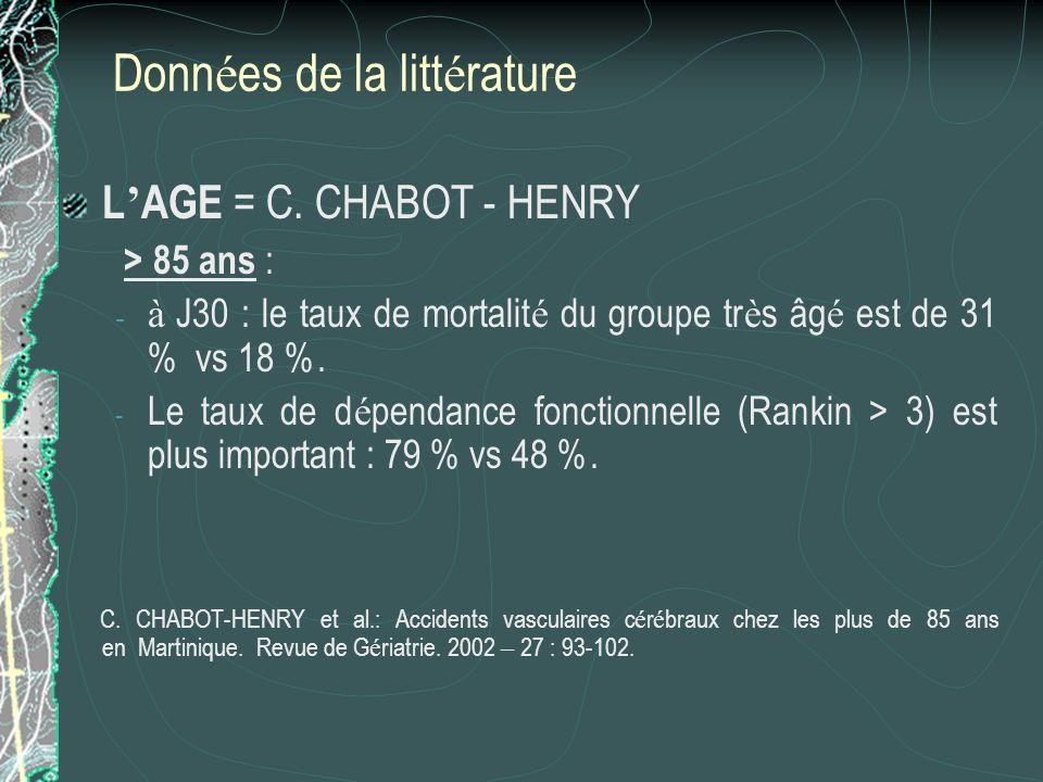 Donn é es de la litt é rature L AGE = C. CHABOT - HENRY > 85 ans : - à J30 : le taux de mortalit é du groupe tr è s âg é est de 31 % vs 18 %. - Le tau