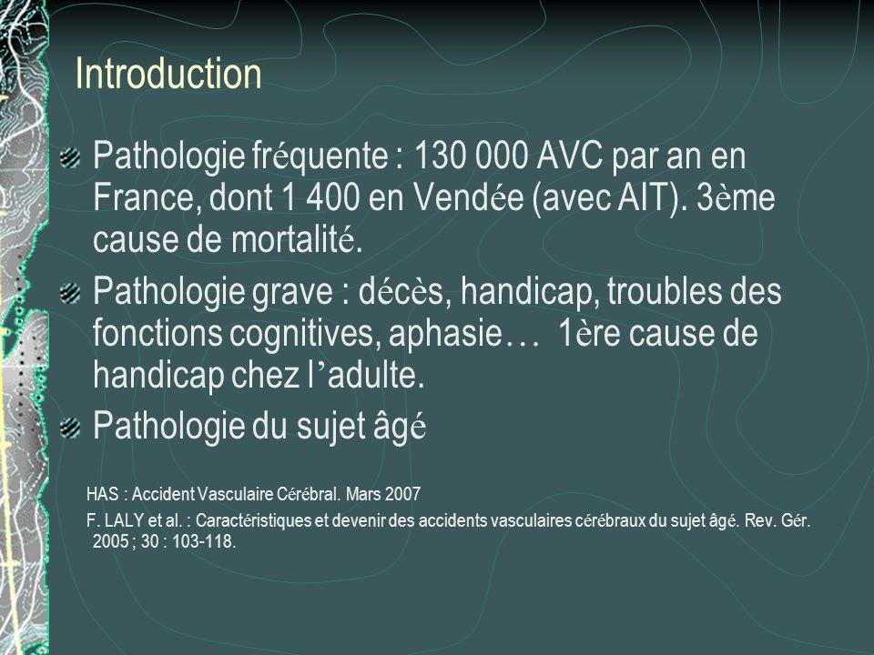 Introduction Pathologie fr é quente : 130 000 AVC par an en France, dont 1 400 en Vend é e (avec AIT). 3 è me cause de mortalit é. Pathologie grave :