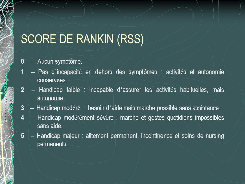 SCORE DE RANKIN (RSS) 0 – Aucun symptôme. 1 – Pas d incapacit é en dehors des symptômes : activit é s et autonomie conserv é es. 2 – Handicap faible :